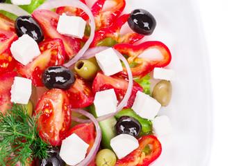 Close up of greek salad.