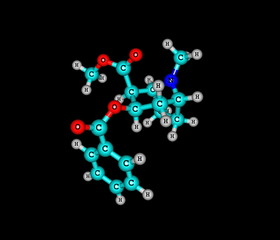 Cocaine molecule isolated on black