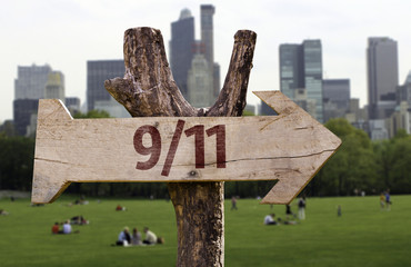 9/11 wooden sign with Central Park background