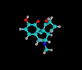 Morphine molecule isolated on black