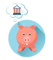 Happy pig with bank symbol