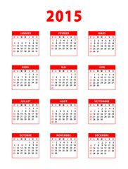 2015 red french calendar