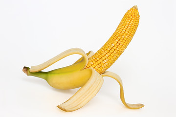 Corn cob with banana skin