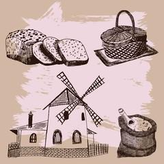 Set of vintage bakery  elements