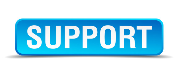 Support blue 3d realistic square isolated button