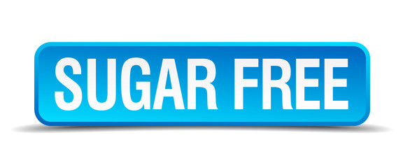 Sugar free blue 3d realistic square isolated button