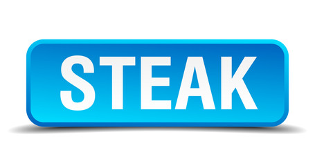 Steak blue 3d realistic square isolated button