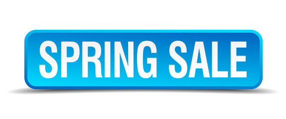 Spring sale blue 3d realistic square isolated button