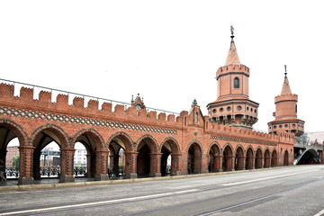 Oberbaum bridge isolated on white background, Berlin, Germany
