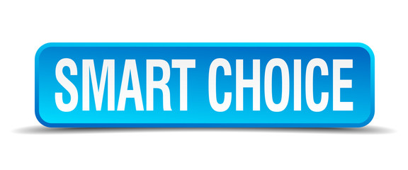Smart choice blue 3d realistic square isolated button