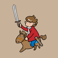 Boy knight riding hose cartoon