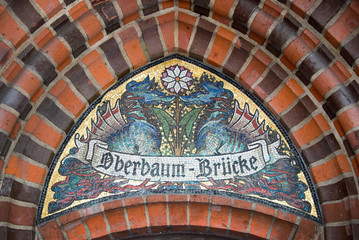 Detail of a mosaic on the Oberbaum bridge, Berlin, Germany