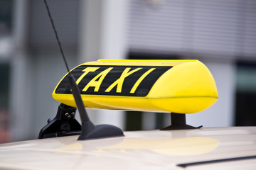 Close up on a taxi sign
