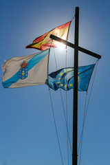 A Coruna - Flags of Galicia, Spain and Europe