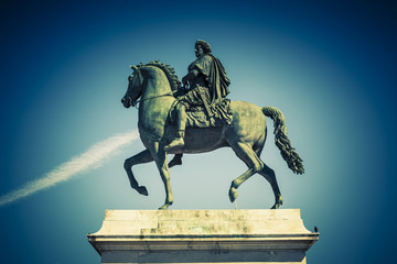 Equestrian statue of Louis XIV, special photographic processing.
