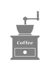 Grey coffee grinder on white background