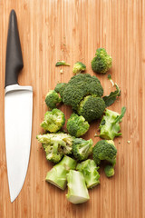 Broccoli with knife