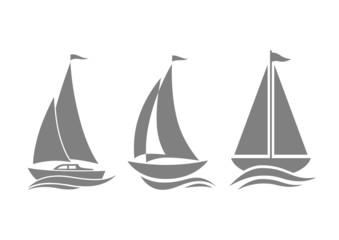 Grey sailboat icons on white background