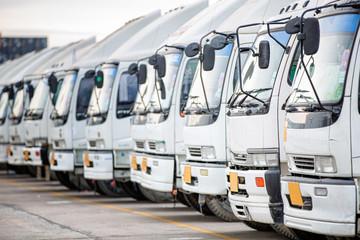trucks of a transporting company in a row