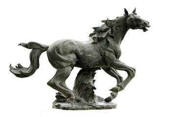 Picture of a horse statue with white background