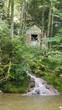 canvas print picture - Einsame Waldhütte