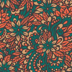Autumn flowers. Seamless decorative pattern.