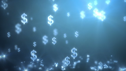 money rain background, dollars. 3d animation, seamless loop