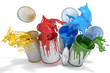 Leinwanddruck Bild - Farbdosen mit verschiedenen Farben