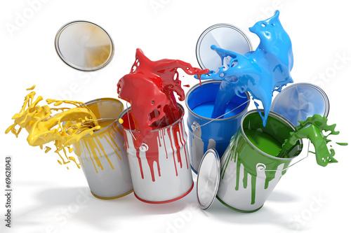 Leinwanddruck Bild Farbdosen mit verschiedenen Farben