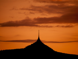 Silhouette of Jested mountain in the evening
