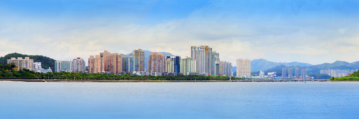 panorama view of zhuhai city in southern of china new economic c
