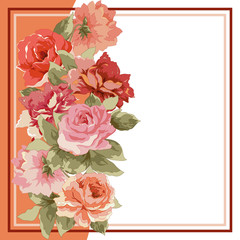 Postcard with luxury bouquet of peonies