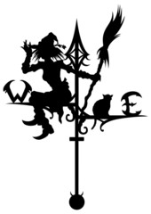 Halloween's weathervane with silhouettes of a Witch and a cat