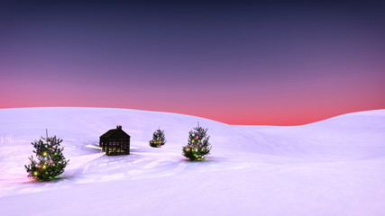 Winter snow landscape with christmas trees and little cabin. Sun