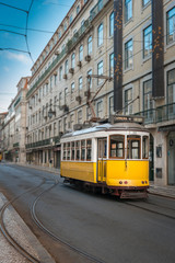 Yellow tramway in Lisbon