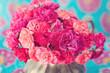 Obrazy na płótnie, fototapety, zdjęcia, fotoobrazy drukowane : bright bouquet of a beautiful tea roses in a vase