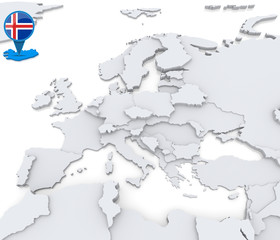 Iceland on a map of Europe