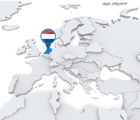 Netherlands on a map of Europe