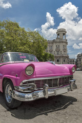 Pink car in Parque Central, Havana, Cuba