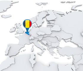 Belgium on a map of Europe