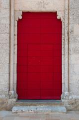 old vintage red wooden door