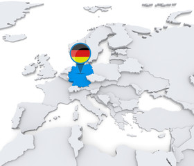 Germany on a map of Europe