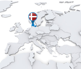 Denmark on a map of Europe