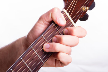 F major chord performed on acoustic guitar