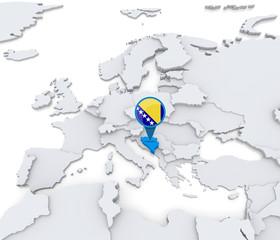 Bosnia and Herzegovina on a map of Europe