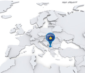Kosovo on a map of Europe