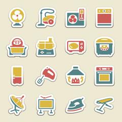 Home appliances color icons.