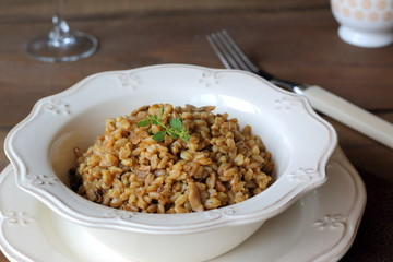 Mushroom farrotto, risotto made out with farro instead of rice