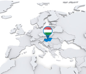 Hungary on a map of Europe