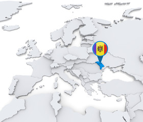 Moldova on a map of Europe